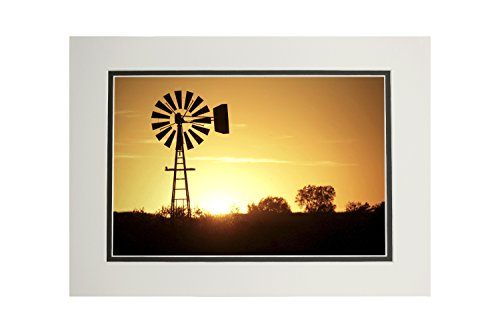 Windmill Sillhouette (11x14 Double-Matted Art Print, Wall Decor Ready to Frame) (Art Windmill)