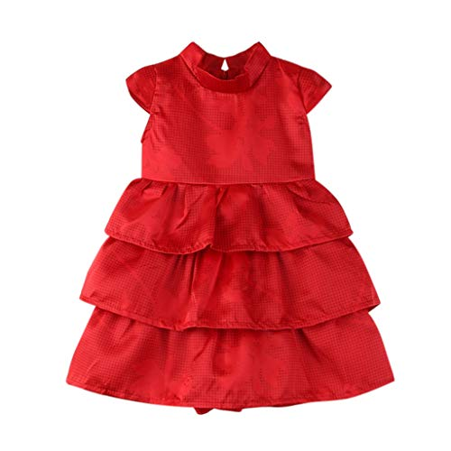 Sayolala Toddler Kids Dress Clothes Baby Girls Ruffled Tutu Bubble Princess Party Cake Dresses, 1-6 Years Red