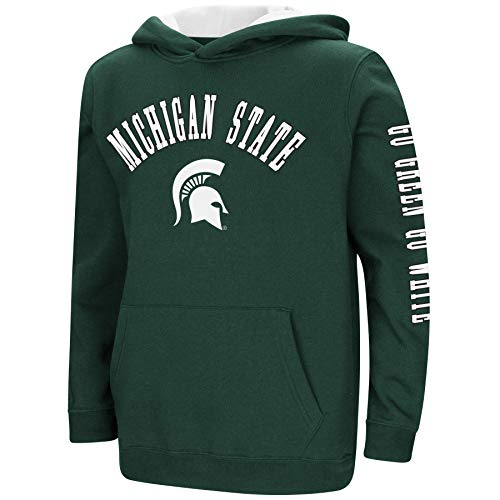 Colosseum NCAA Youth Boys-Crunch Time-Hoody Pullover-Michigan State Spartans-Green-Youth Large