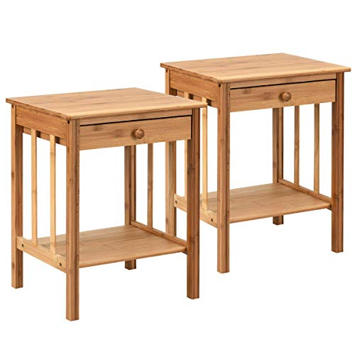 Bamboo Nightstand End Table Drawer Storage Shelf Home Side Table 2 PCS (Rattan Table Classic Bedside)