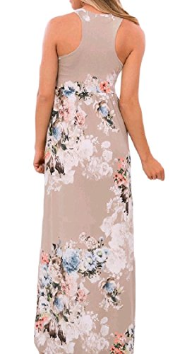 Long Pocket Stylish Khaki Size Summer Beach Women Print Loose Coolred Dress Plus Floral Sleeveless BqvSp48