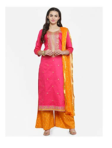 Stitched Readymade Embroidered Salwar Kameez Dupatta Suit Set (EX-Large-42, Pink-Yellow)