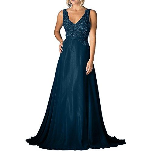 Blau Rock La A Linie Abendkleider mia Ballkleider Brautmutterkleider Brau Chiffon Dunkel V Ausschnitt Langes Festlichkleider Pailletten Spitze 64aSxBw6q