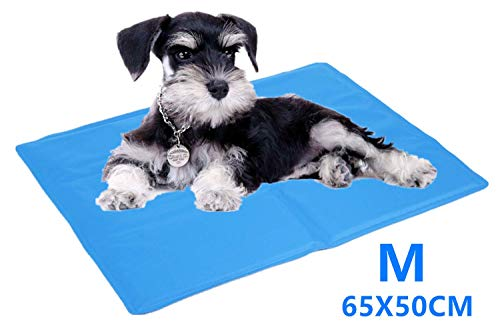 Cadosoigh Dog Cooling Mat 90x50cm Durable Pet Cool Mat Non-Toxic Gel Self Cooling Pad, Great for Dogs Cats in Hot Summer( sky blue ) (65 * 50CM)