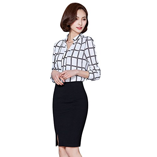 Hengzhi Womens Lattice Chiffon Blouses