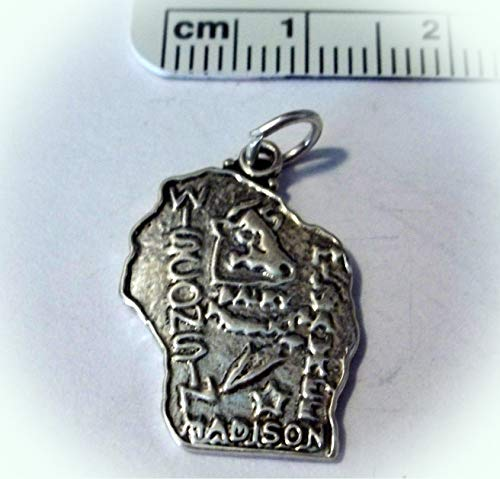 Clearance Sterling Silver 22x15mm Wisconsin State Charm Vintage Crafting Pendant Jewelry Making Supplies - DIY for Necklace Bracelet Accessories by CharmingSS