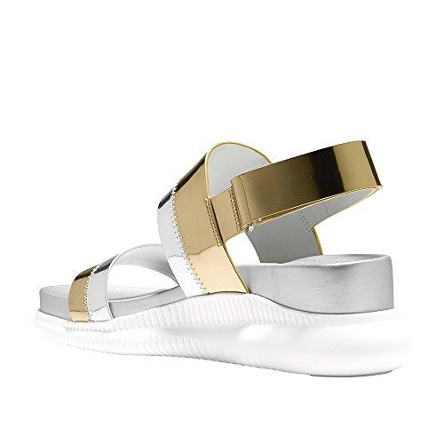 Cole Haan Dames 2.zerogrand Slide Sport Sandaal, Zwart Leder Goud Metallic-argento Metallic Specchio