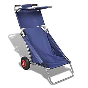 vidaXL Carretilla Portable de playa, Silla, Mesa, Tres en uno, Azul