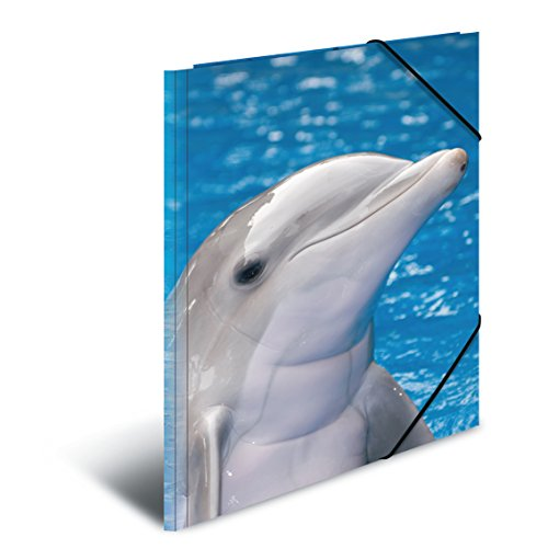 Herma 7146Sammelmappe A3Plastic, Series with Dolphin Motif, with Elasticated Corners, Pack of 1 by HERMA
