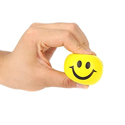 12 Pieces - 2 Inch Neon Smiley Squeeze Stress Ball Bulk for Kids and Adults Party Favor - Assorted Colors: Toys & Games