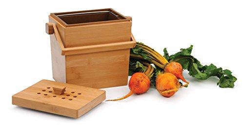 - RSVP 4.5 Quart Square Bamboo Compost Pail