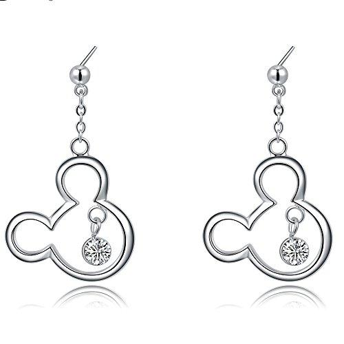 - Mall of Style Mickey Dangle Earrings - Trendy Jewelry Teenage Girls (Earrings Silver)