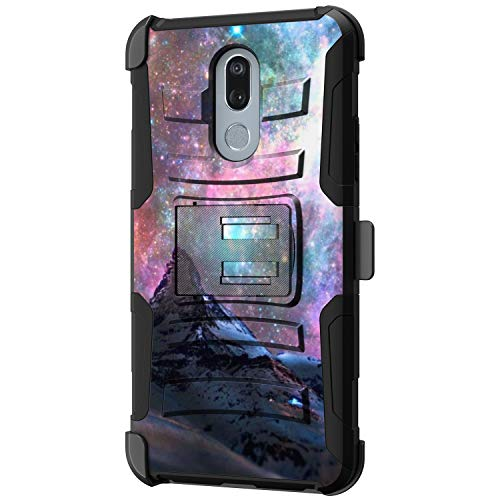 TurtleArmor | Compatible with LG Stylo 5 Case | LG Stylo 5 Plus Case | LG Stylus 5 Case [Hyper Shock] Fitted Armor Holster Belt Clip Hybrid Cover Stand Shock Protective Case - Stars Galaxy Mountain (Lg 3g Phone Cases With Port Cover)