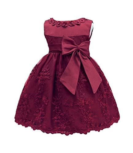 HX Baby Girl's Newborn Bowknot Gauze Christening Baptism Dress Infant Flower Girls Wedding Dresses 13 Color (12M/10-13 Months, Wine -