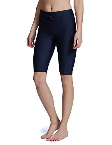 (Baleaf Women's Long Board Shorts High Waisted Swim Shorts Sun Protection Bikini Bottom UPF50+ Navy M)