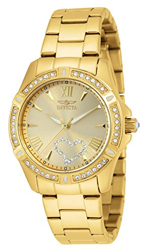 Gold Tone Floating Crystal Watch - Invicta Women's 21384 Angel Crystal-Accented 18k Gold Ion-Plated Stainless Steel Watch