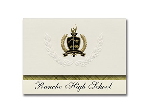 Signature Announcements Rancho High School (North Las Vegas, NV) Graduation Announcements, Presidential style, Elite package of 25 with Gold & Black Metallic Foil - Vegas North Premium Las