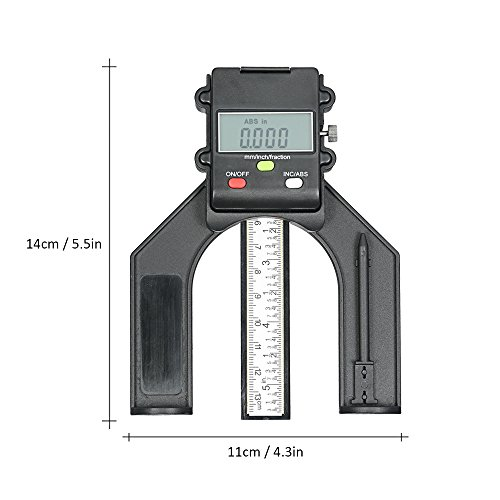 Height Gauge, KKmoon 0-130mm Digital Depth Gauge, Table Saw Caliper, with LCD Display,Three Measurement Units Locking Screw for Woodworking Router Table
