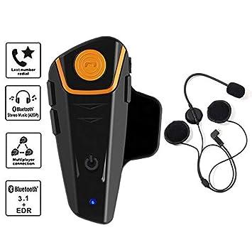 ad38b773ea0 Motorcycle Helmet Bluetooth Headset, leegoal Motorcycle Wireless Intercom  Interphone Supports GPS Voice Command, Hands