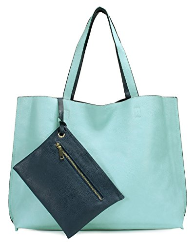 (Scarleton Stylish Reversible Tote Bag H18425019 - Light Blue/Navy)