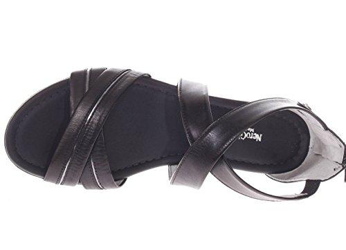 P805640D Sandalo Fasce Incrociate 100 in Nero Nero Donna Giardini Pelle TwIxq4XEHn