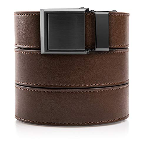- SlideBelts Ratchet Belt with Square Buckle - Custom Fit (Mocha Brown Leather with Square Gunmetal Buckle (Vegan), One Size)