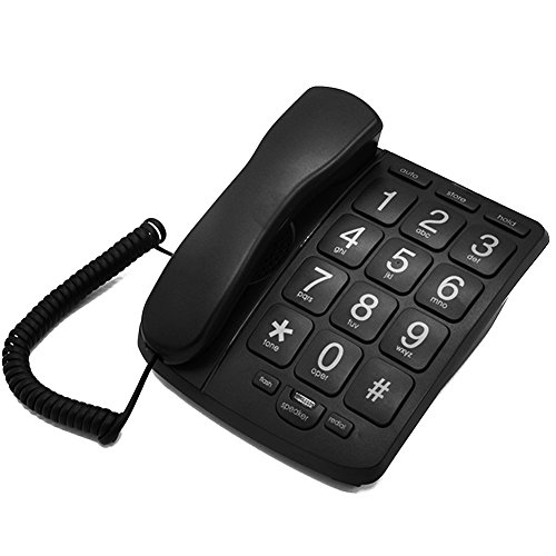 LeeKer LK-P02B Big Button Corded Telephone for Elderly perfect for Low Vision Aids with Handsfree Speakerphone (Black)