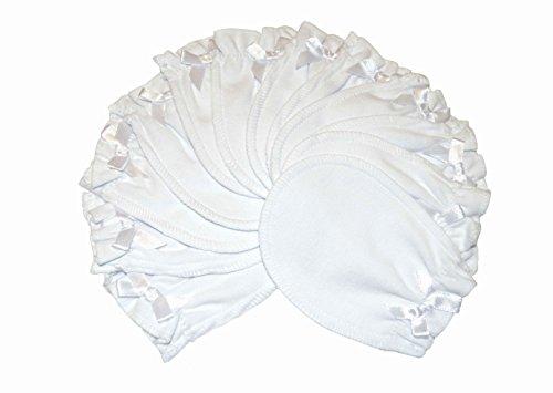 Soft White - 6 Pairs Cotton Newborn Baby/infant No Scratch Mittens Gloves