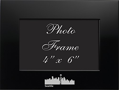 LXG, Inc. Seattle, Washington-4x6 Brushed Metal Picture Frame-Black ()