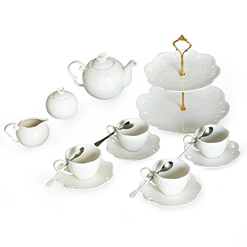 Porcelain Tea Cup and Saucer Coffee Cup Set with Saucer, Spoon, Sugar, Creamer TC-HYHD-W (Spoon Creamer Sugar)