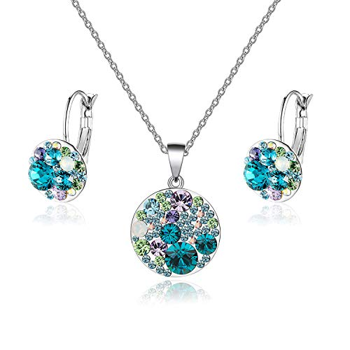 (EVEVIC Swarovski Crystals Round Disc Pendant Necklace Earrings Set for Women Girls Gold Plated Jewelry Sets (Blue Green Crystals/Silver-Tone))