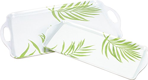 Corelle Coordinates Rectangular and Tidbit Serving Tray Set, White, Bamboo Leaf