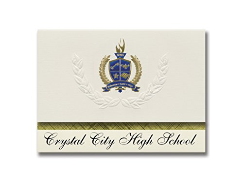 Signature Announcements Crystal City High School (Crystal City, MO) Graduation Announcements, Presidential style, Basic package of 25 with Gold & Blue Metallic Foil seal (Crystal City High School Crystal City Mo)