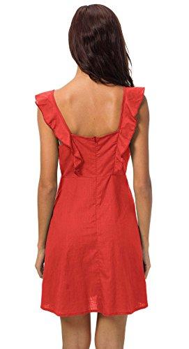Unie Robe Smalltile Femme Bouton t Volant Nu Robes Plage Jarretelles Mini Dos Casual Cocktail Fashion de Soire Party Couleur avec Rouge Sexy rZURwnxrq