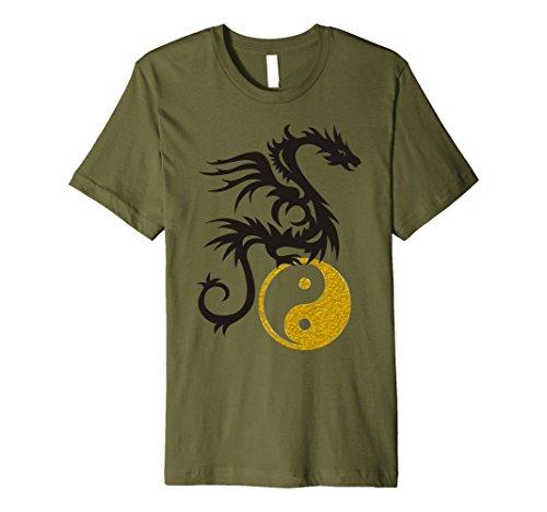 Mens Yin Yang Dragon Tattoo - gold black T-Shirt 2 Medium Olive