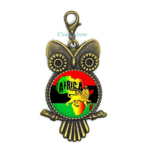 Cioaqpyirow Africa Map Owl Zipper Pull Africa Map Lobster Clasp Home Town Love Jewelry Peralized Picture Owl Zipper Pull,HO0E310]()