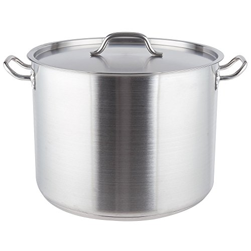 AT001 Vigor 40 Qt. Heavy-Duty Stainless Steel Aluminum-Clad Stock Pot with Cover by AT001