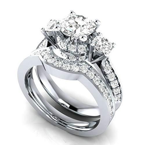 Monowi 925 Silver White Sapphire Wedding Band Rings Set Women Fashion Jewelry Size 6-10 | Model RNG - 7200 | 10#