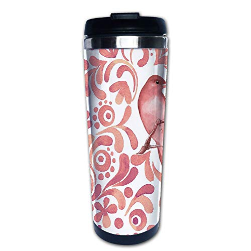 Stainless Steel Insulated Coffee Travel Mug,Branch Floral Swirls Curves Little Dots Wildlife,Spill Proof Flip Lid Insulated Coffee cup Keeps Hot or Cold 13.6oz(400 ml) Customizable printing