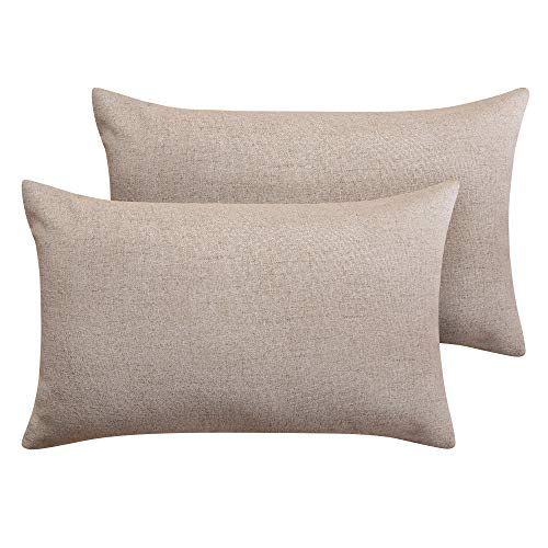 Deconovo Pillow Covers Throw Cushion Covers Faux Linen Pillow Case Covers for Living Room 12 x 20 Inch Taupe Set of 2 No Pillow Insert (16x20 Cover Pillow)