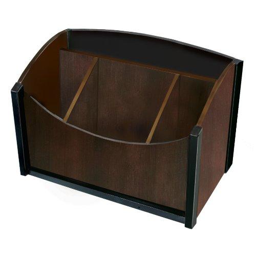 Mahogany Desktop Accessories (Artistic Dual-Tone Sustainable Bamboo Desk Organizer Espresso, Brown Black (ART13007))