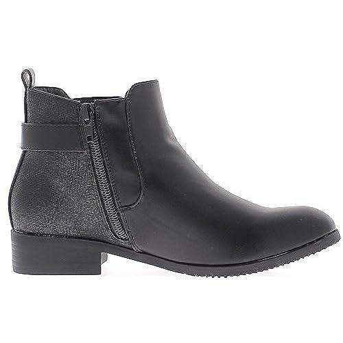 Negro tacón bajo 3 cm look liso y arrugado cuero botas 70% OFF - www ... 4b1f925c8e3a