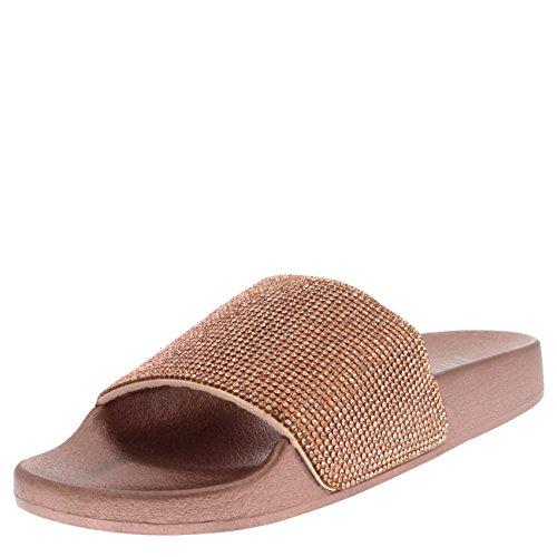 Viva Womens Diamante Fashion Platform Sliders Slip On Mules Summer Shoe Sandals - Rose Gold PN0136 9US/40