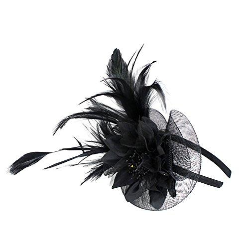 Auranso Derby Netting Mesh Headband Feather Big Flowers Hair Band Tea Party Girls Women Wedding Bridal Fascinator Hat