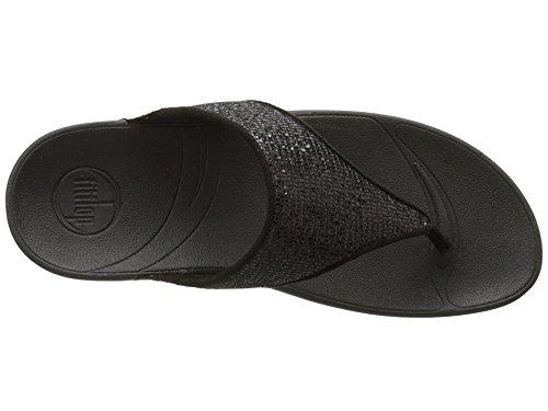 Fitflop Women's Lulu Superglitz Textile Sandal,Black,7 M US