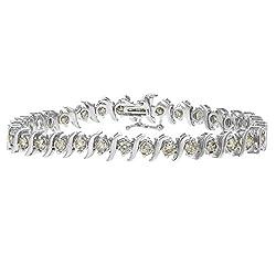 White Gold Champagne Diamond S-Link Bracelet