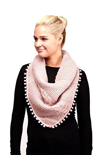 Women's Knitted Loop Tube Infinity Collar Scarf With Pom Poms