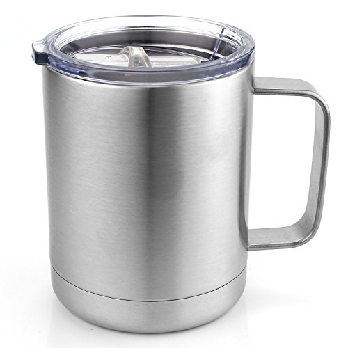 Coffee Mug - Stainless Steel Double Wall Insulated Tumbler With lids by Huajing