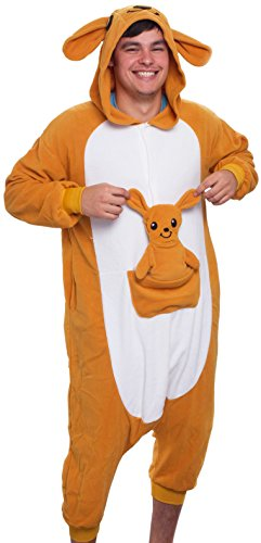 Silver Lilly Unisex Adult Pajamas – Plush One Piece Cosplay Kangaroo Animal Costume