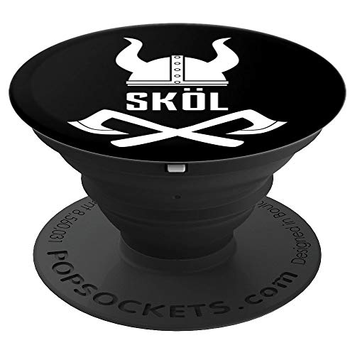 (Nordic Viking Design- Berserker Ax, Helmet & SKOL Cheer - PopSockets Grip and Stand for Phones and Tablets )